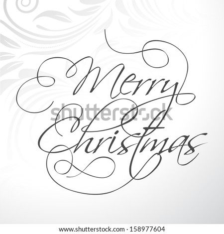 Merry Christmas typography text, on floral decorated grey background. Can be use as flyer, banner, poster and greeting card.