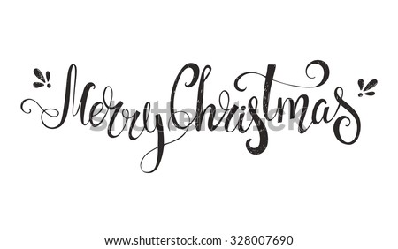Merry Christmas - unique handdrawn typography poster. Vector art. Great design element for congratulation cards, banners and flyers. - stock vector