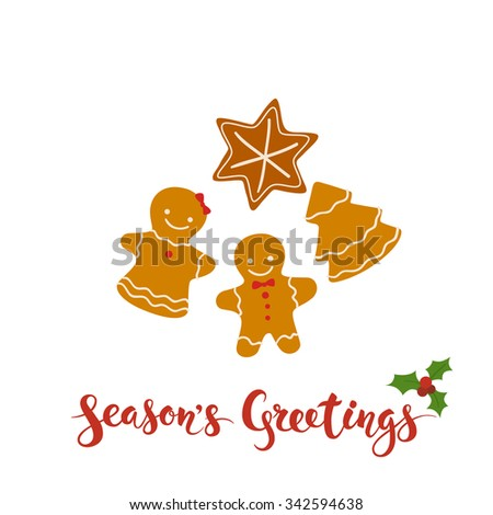 Merry Christmas vector card. Merry Christmas calligraphy. Christmas icons. Cake icons.