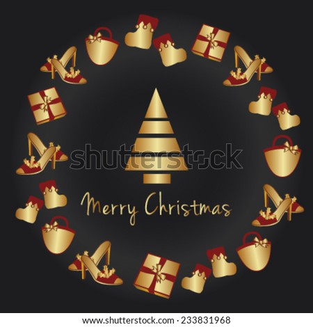 Merry Christmas vector card with gold gifts - stock vector