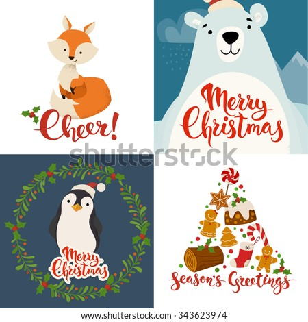 Merry Christmas vector cards with funny Christmas characters. Vintage Christmas card designs with funny animals and Christmas symbols and Merry Christmas lettering - stock vector