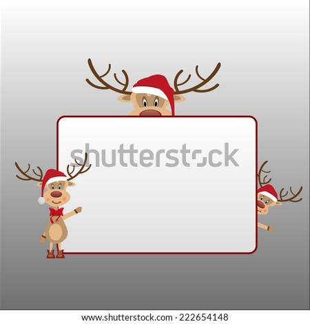 merry christmas vector eps10 card / christmas button icon banner frame shield design / cute santa reindeer cartoon family hold a red sign  - stock vector