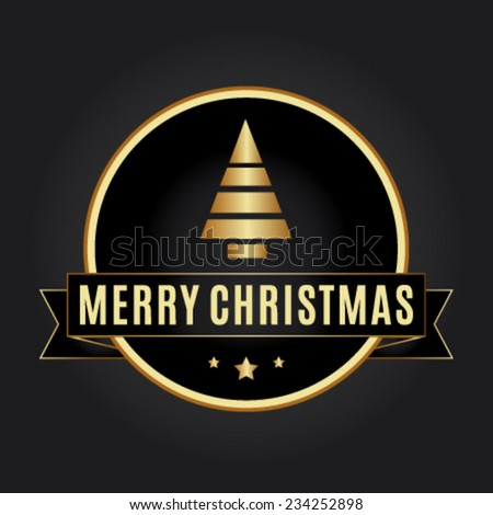 Merry Christmas vector gold label - stock vector