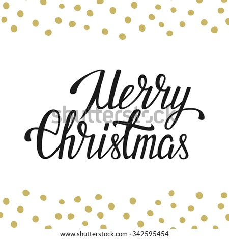 Merry Christmas vector illustration. Hand lettering and hand design elements - stock vector