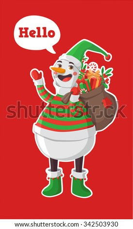 Merry Christmas vector illustration. Snowman carrying sack full of gifts.
