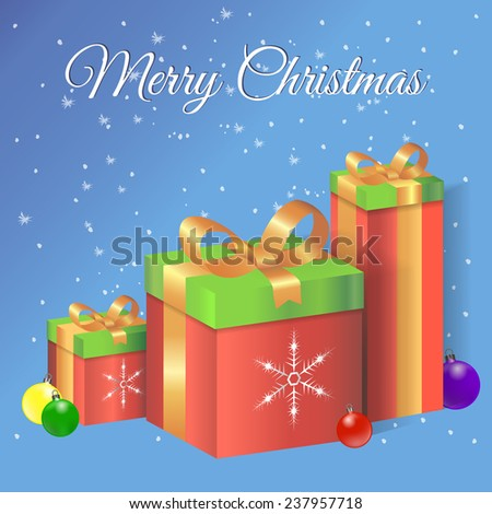 Merry Christmas vector illustration with gift boxes and Christmas balls