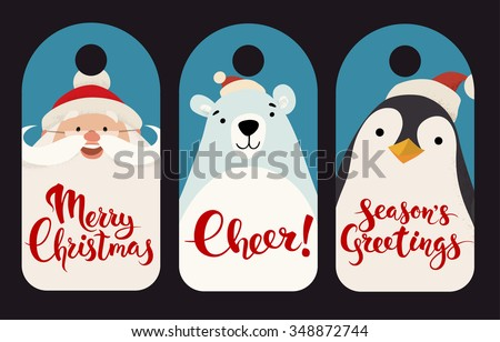 Merry Christmas vector labels with funny Christmas characters. Vintage Christmas tags designs with funny animals and Christmas symbols. Merry Christmas lettering. Cheer. Season's greetings.  - stock vector