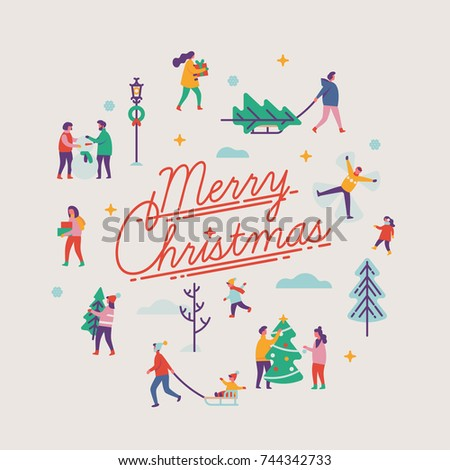 Merry Christmas vector minimalistic background or design design element