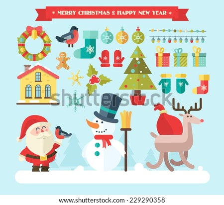 Merry christmas. vector winter background - stock vector