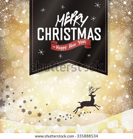 Merry Christmas Vintage Background. Falling Snow and Black Badge with Greeting and Christmas deer silhouette. All layers separated and can be edited. - stock vector