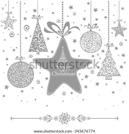 Merry Christmas! Vintage card. Celebration  background with Christmas tree, Christmas star,  Christmas ball and place for your text. Vector Illustration - stock vector
