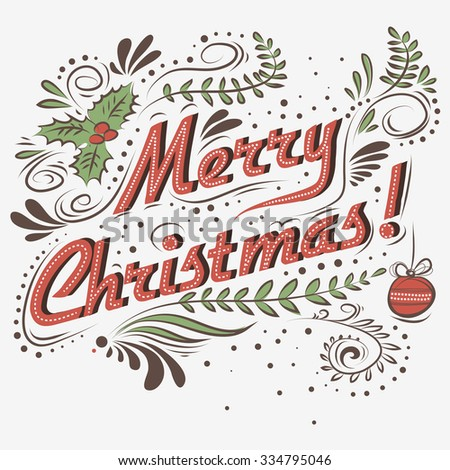 merry christmas vintage christmas greeting card with typography lettering