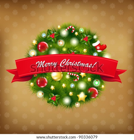 Merry Christmas Vintage Composition, Vector Illustration - stock vector