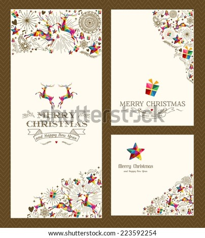 Merry Christmas vintage hand drawn elements greeting card set. EPS10 vector file organized in layers for easy editing. - stock vector