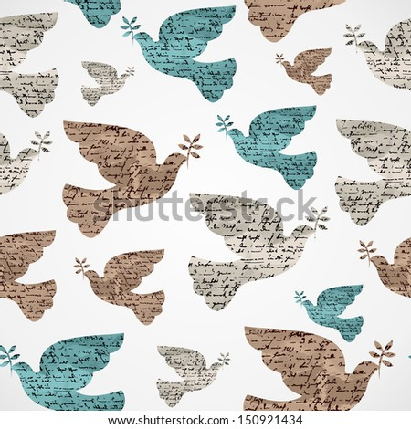 Merry Christmas vintage peace dove grunge texture seamless pattern background. Vector file layered for easy editing.  - stock vector