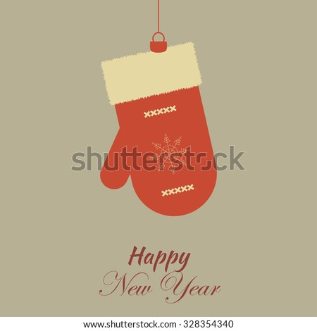 Merry Christmas Vintage Retro Typography Lettering Design Greeting Card on simple background.Happy New Year Happy Holidays Template. Card with Christmas toy snowman mitten - stock vector