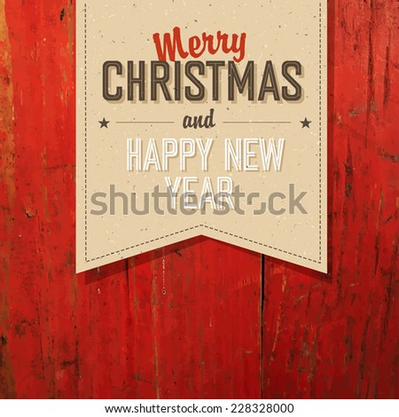 Merry Christmas VIntage Tag Design On Red Planks. Vector - stock vector