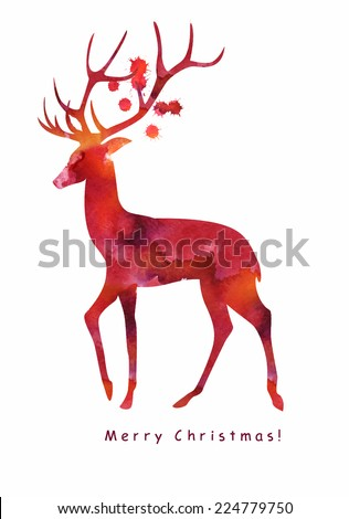 Merry Christmas, watercolor vector card - stock vector