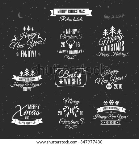 Merry Christmas white vintage label set. Happy New Year. - stock vector
