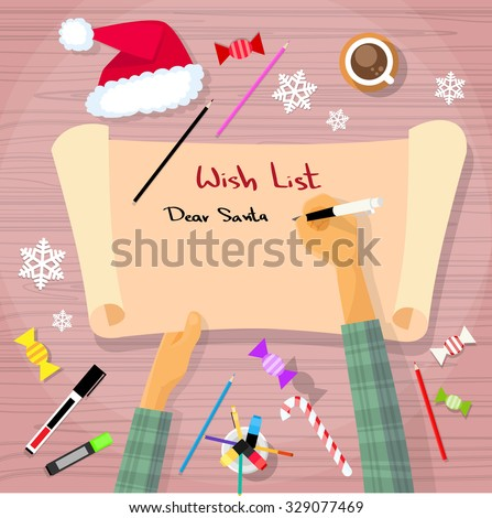 Merry Christmas Wish List To Santa Clause Child Hand Writing Pen On Paper  Desk Flat Vector
