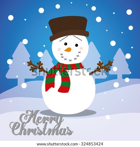Merry christmas with lovely cartoons graphic design, vector illustration. - stock vector