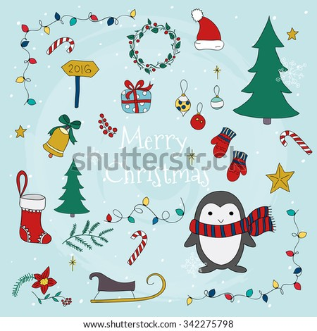 Merry Christmas with set of christmas lettering and graphic elements. Vector illustrations for greeting cards.