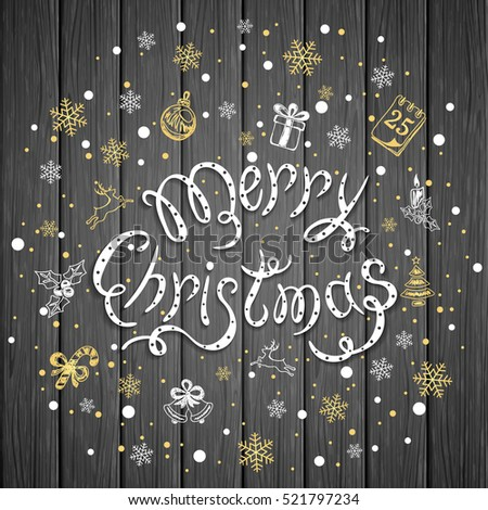Merry Christmas with snowflakes and decorative elements on a dark wooden background, holiday lettering with black and golden decoration, illustration.