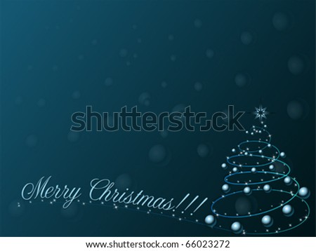 Merry Christmas with tree. Blank greeting card template, vector