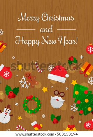 Merry Christmas with Wood Background. Vector Illustration. Flat Christmas. Happy New Year Concept. Candy Cane, Christmas Tree, Candle, Gingerbread Man. Place for Your Text