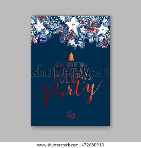 Merry Christmas wreath Floral wedding invitation with winter christmas wreath. Merry Christmas and Happy New Year Card