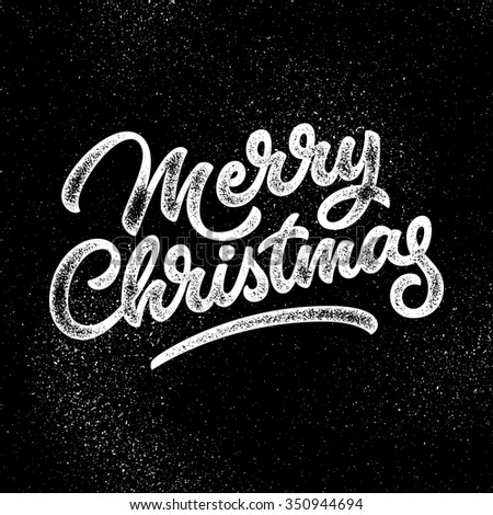 Merry Christmas, xmas badge, handwritten lettering, calligraphy with grain, noise, dotwork, halftone, grunge texture for logo, banners, labels, postcards, posters, web and prints. Vector illustration. - stock vector