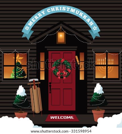 Merry Christmukkah (Christmas and Hanukkah) Front door with ribbon EPS 10 vector royalty free stock illustration for greeting card, ad, promotion, poster, flier, blog, article, social media, marketing - stock vector