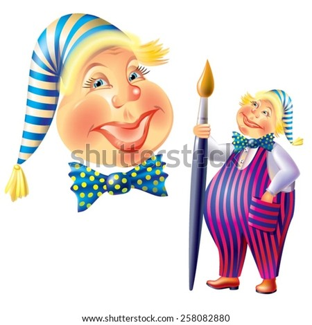 Merry clown with brush, cartoon vector image - stock vector