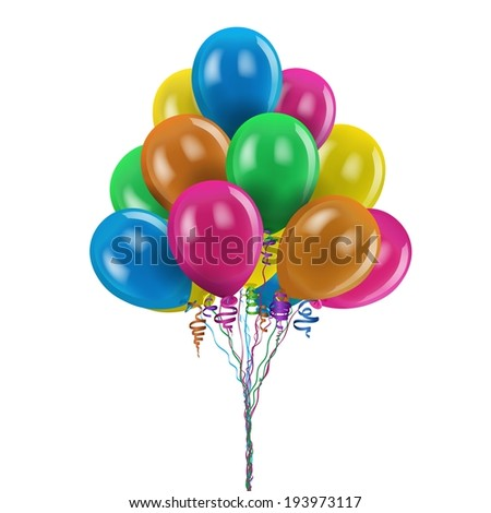 merry festive colored balloons on white background