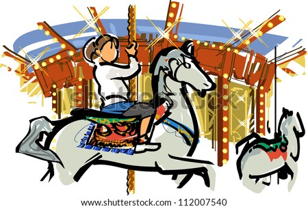 Merry-go-round - stock vector
