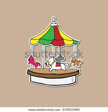 Merry go round amusement playground cartoon - stock vector