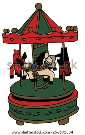 Merry-go-round horse ride - stock vector