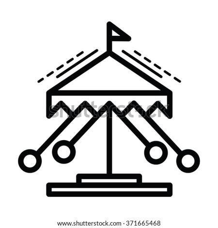 merry-go-round line icon  line style - stock vector