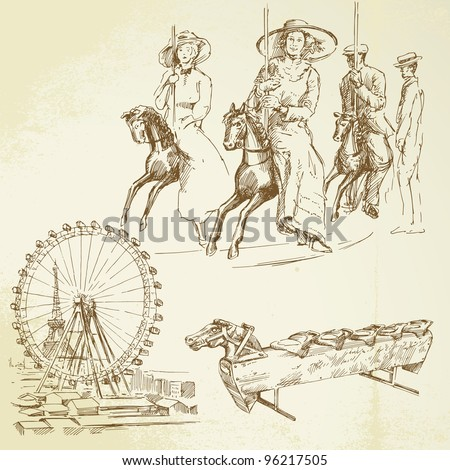 merry go round - vintage set - stock vector