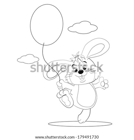 Merry hare-toy with  balloon in  paw.  Coloring book. - stock vector