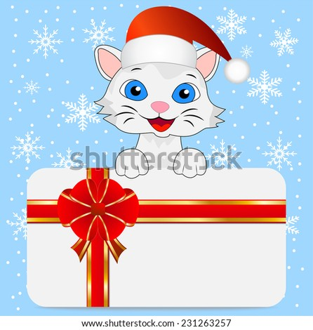 merry kitten in a christmas cap and greeting-card,vector illustration