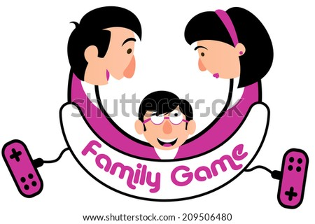 Merry plate with family and game console. Game console for the whole family. - stock vector