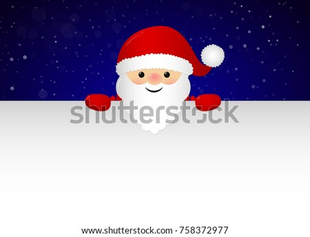 Merry Santa Claus holding a card with copyspace for Christmas wishes. Vector.