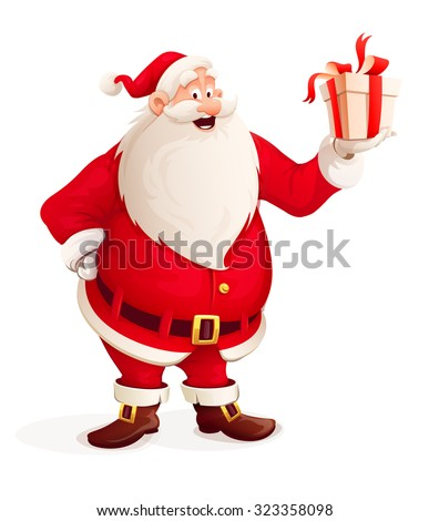 Merry Santa Claus with Christmas gift in hand. vector illustration. Isolated on white background. Transparent objects used for lights and shadows drawing. - stock vector
