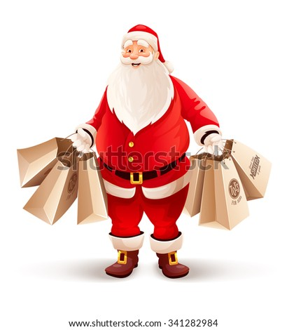 Merry Santa Claus with shopping bags buys gifts and sweets for Christmas. vector illustration. Isolated on white background. Transparent objects used for lights and shadows drawing. - stock vector