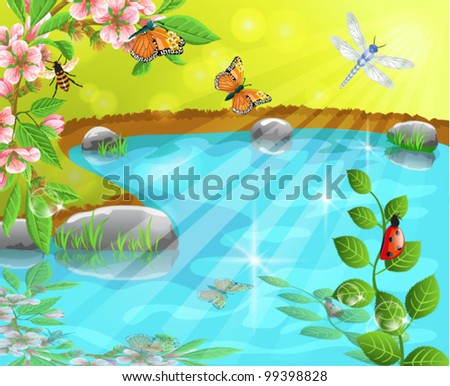 merry spring - stock vector