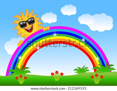 merry sun peeks out from a rainbow, vector illustration