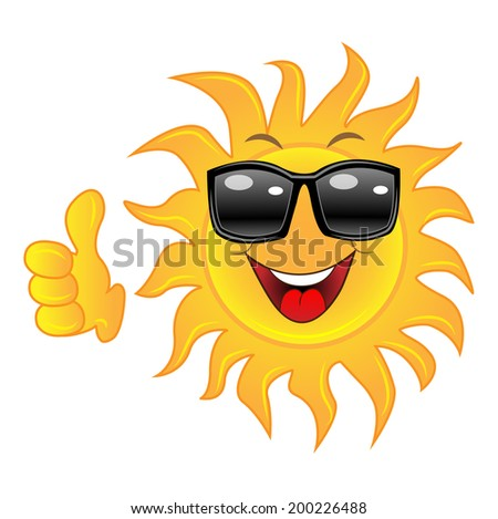 merry sun spectacled a thumb heaved up upwards,  vector  illustration