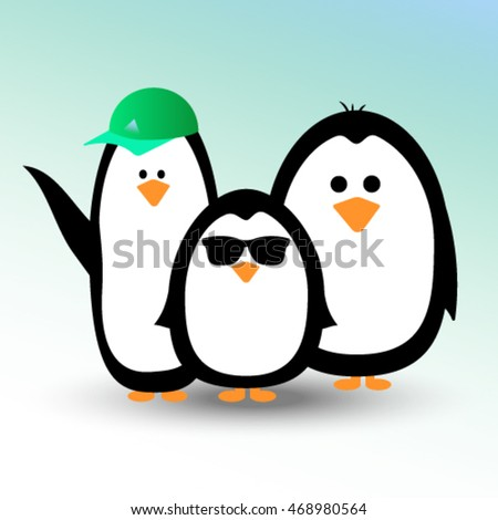 merry team of cartoon penguins with glasses and a cap on a gradient background