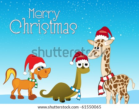 merry xmas background with cute animals - stock vector